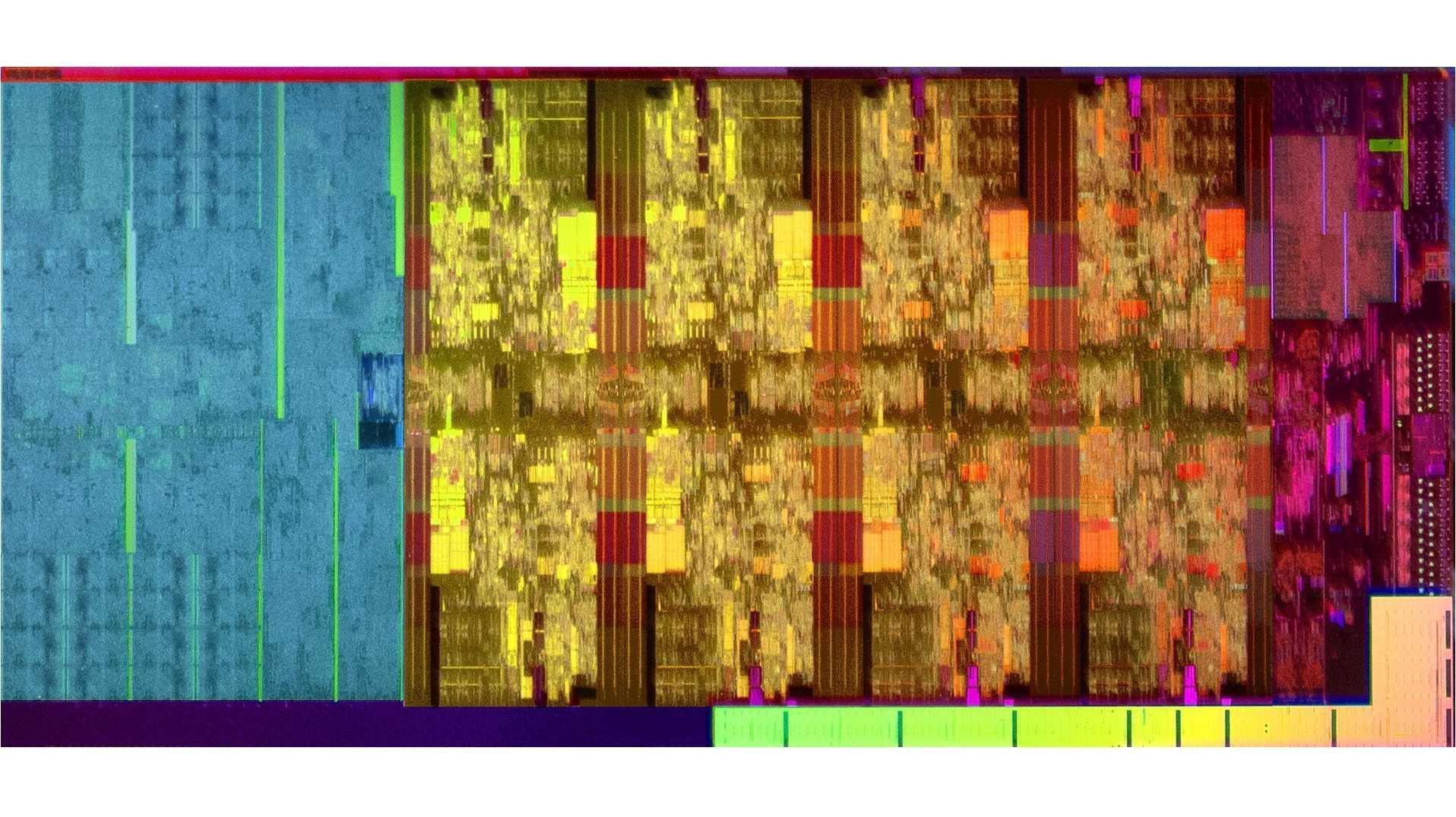 Die-Shot des Intel Core i9-9900K mit acht CPU-Kernen