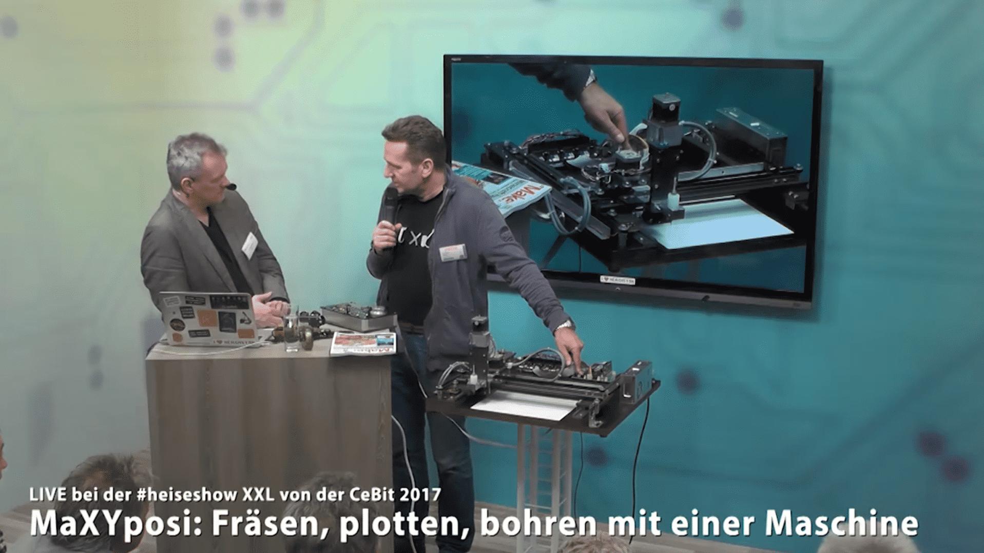 Bild der CeBIT heisehowXXL 2017 mit Carsten Meyer zu Fräsen und Lasercuttern