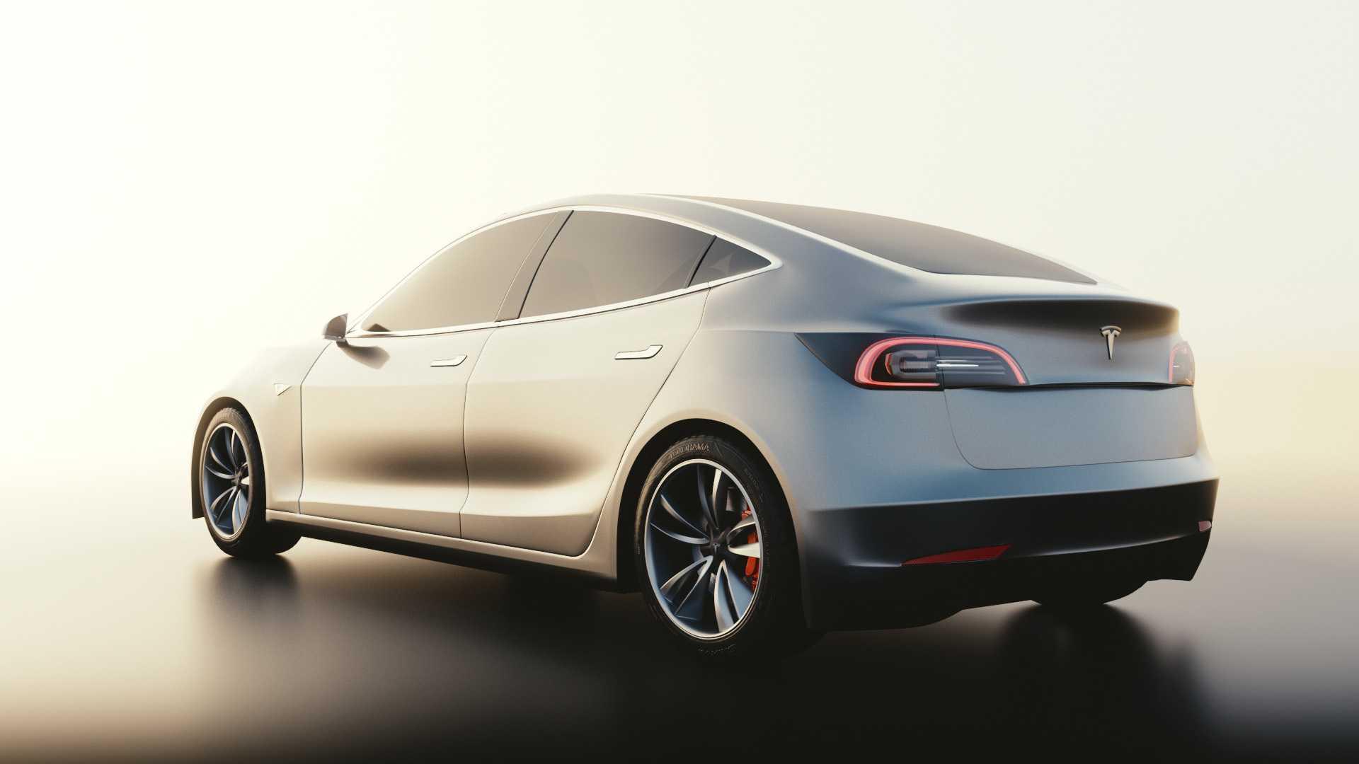 Dank Filmic gehen die Umrisse dieses Tesla Model 3 weich in den hellen Hintergrund über.
