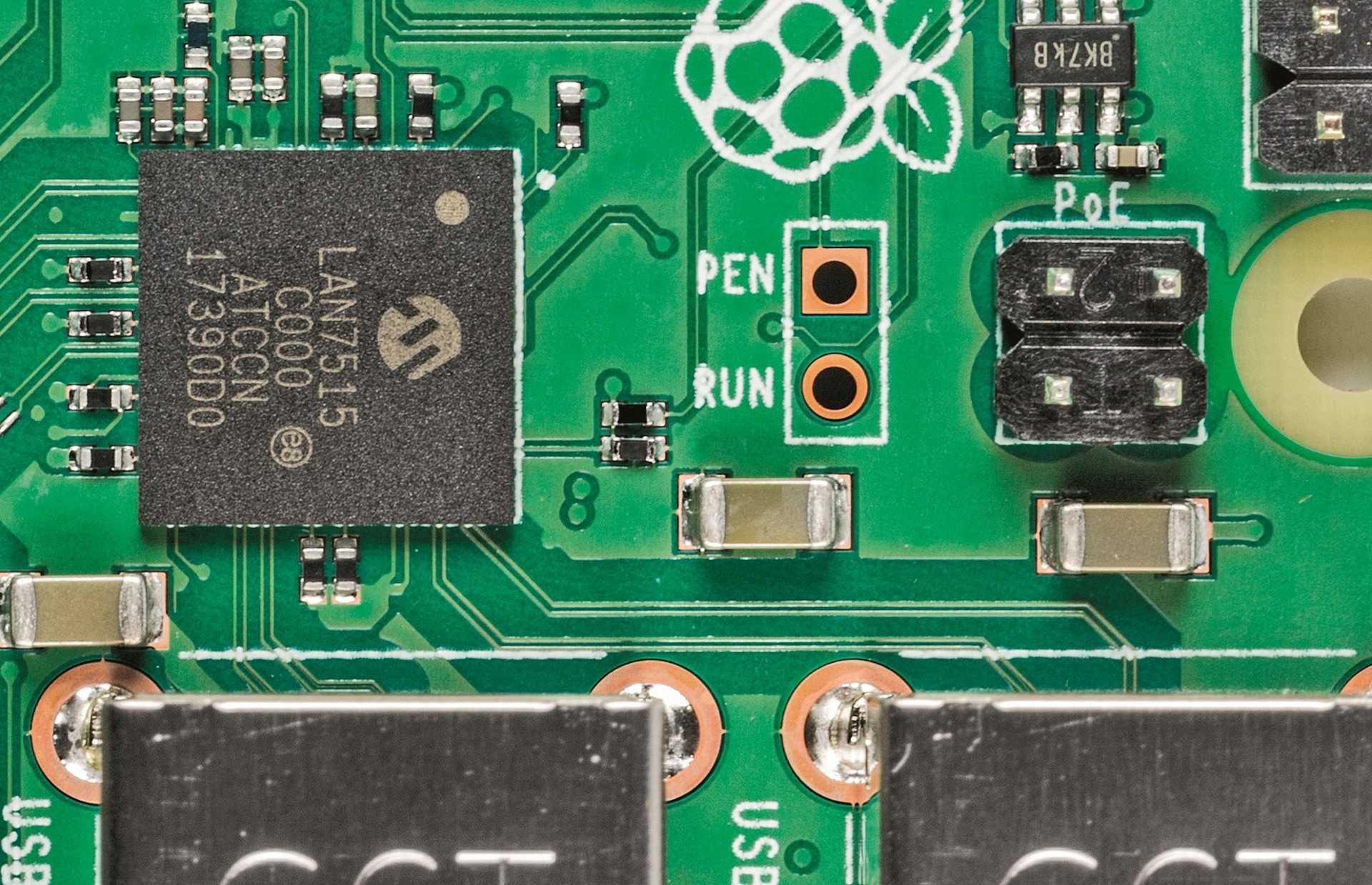 USB- und LAN-Chip LAN7515 und PoE-Pins