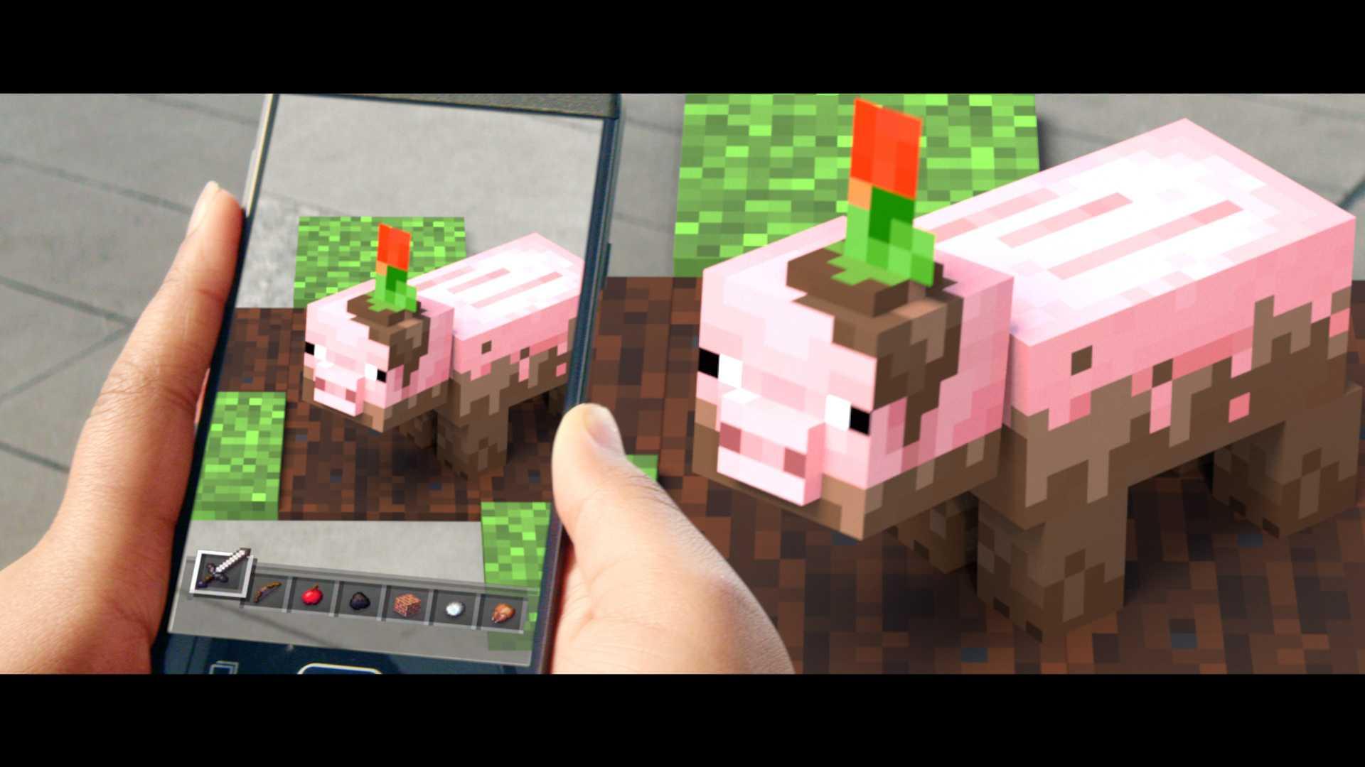 So ungefähr sieht Minecraft Earth auf dem Smartphone aus. Mehr Screenshots gibt es leider nicht, Microsoft erlaubte auch keine Fotos beim Probespielen.