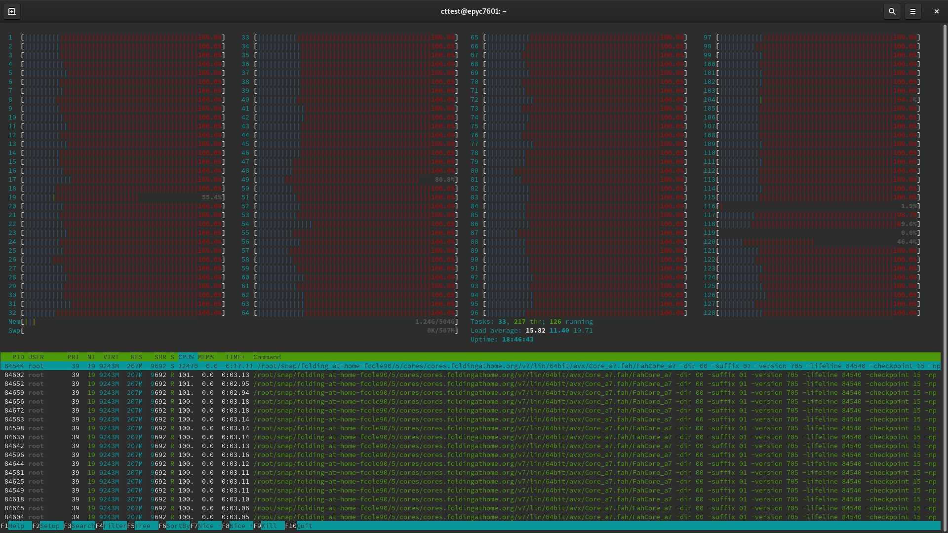 Das Rome-Referenzsystem von AMD rechnet mit zwei Epyc 7742, zusammen also 128 CPU-Kernen und 256 Threads. Sein Spitzname: Folding@Rome.