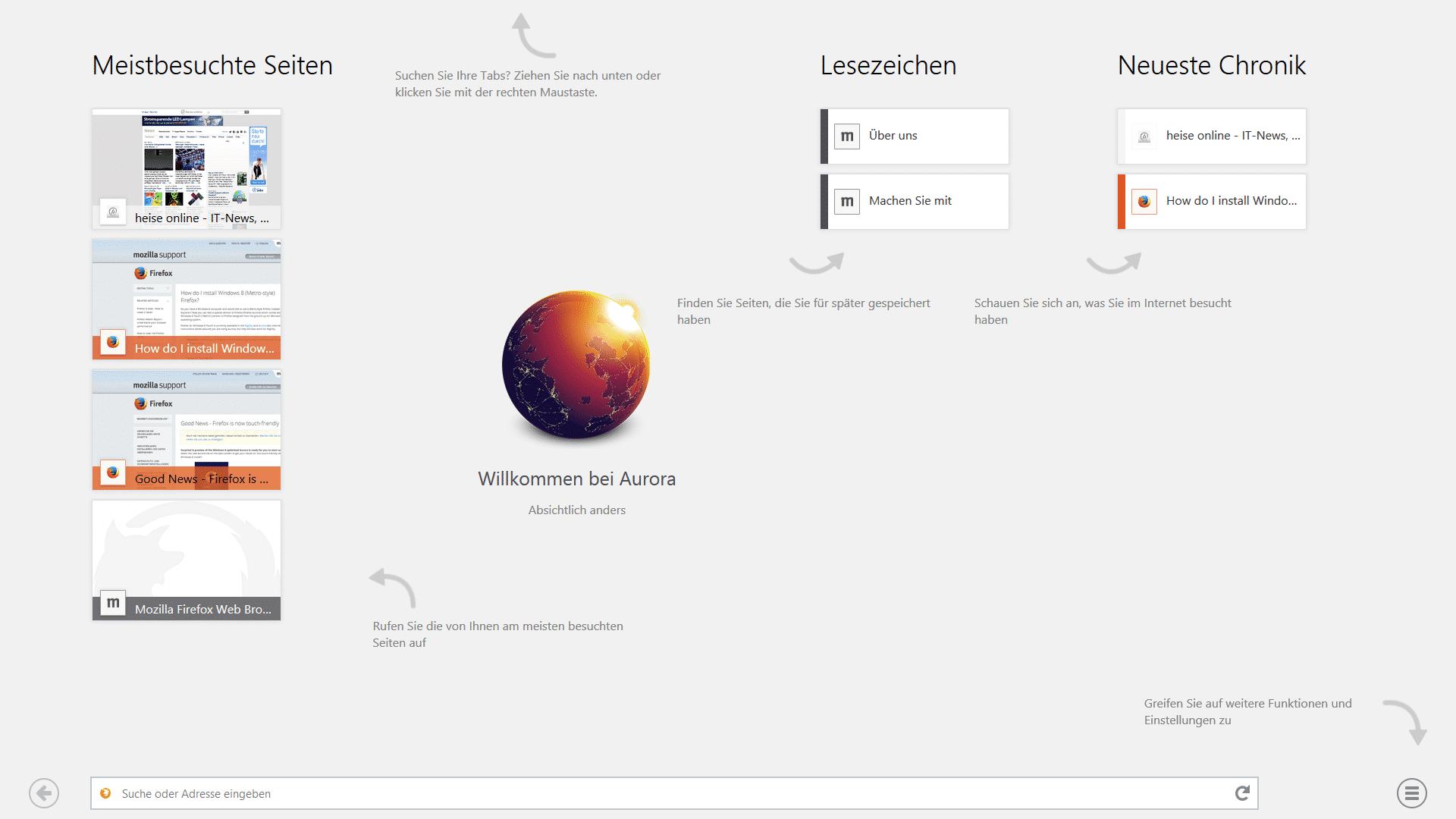 Im Februar veröffentlichte Mozilla den Firefox 28 Beta mit Touch-optimierter Oberfläche.