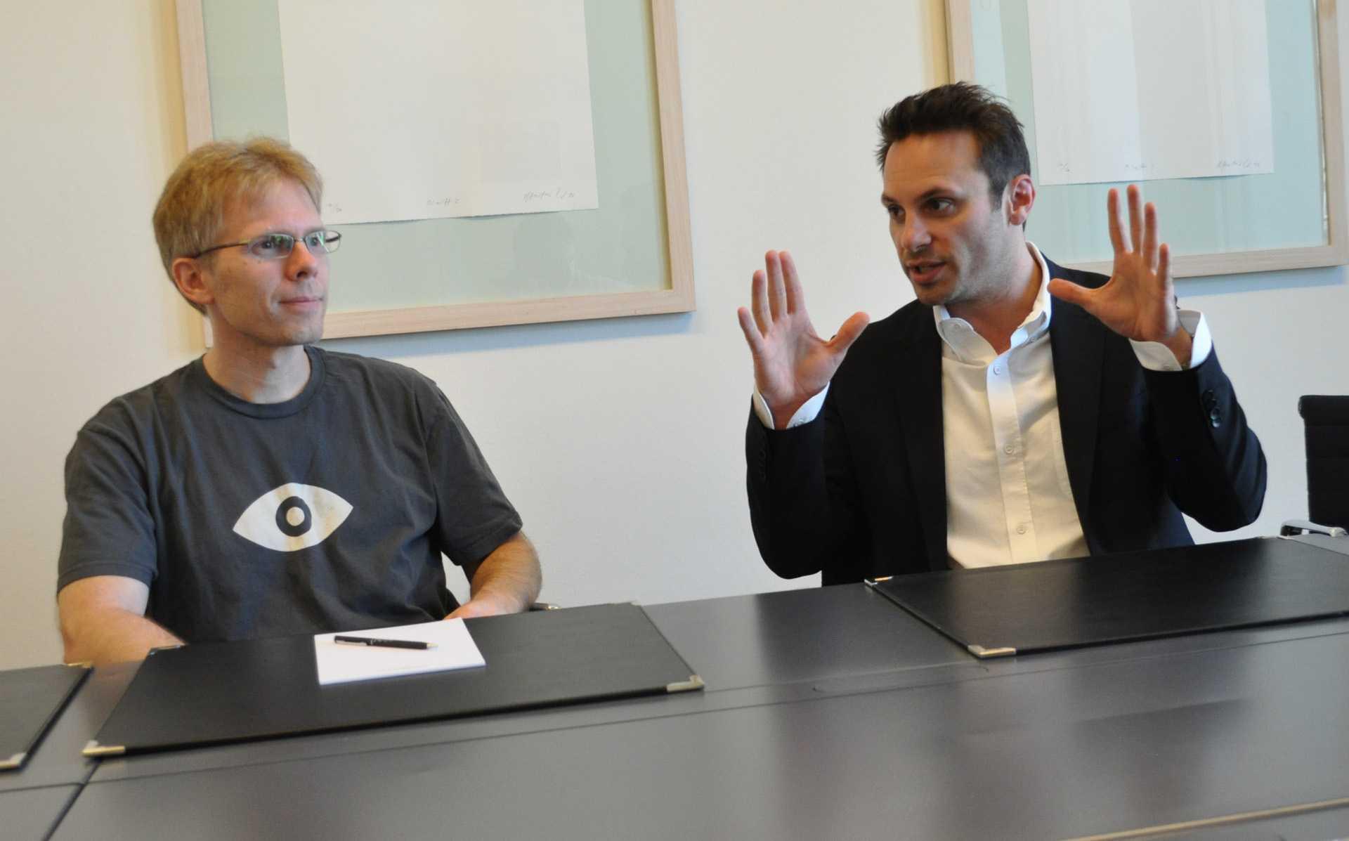 John Carmack und Brendan Iribe im Gespräch mit heise online.