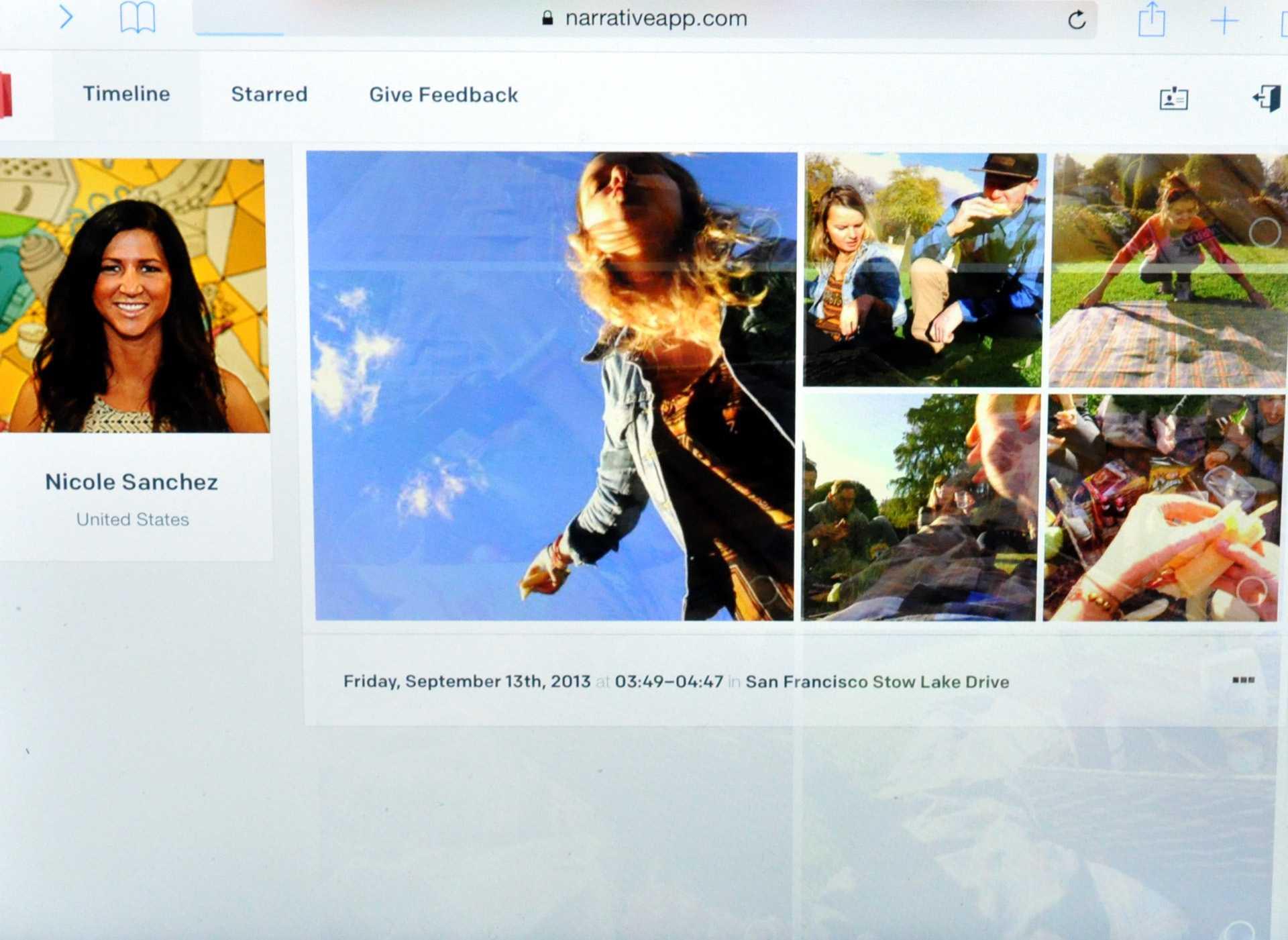 Die Narrative-App (hier im Browser) zeigt für jedes Bild die ungefähre Adresse an.