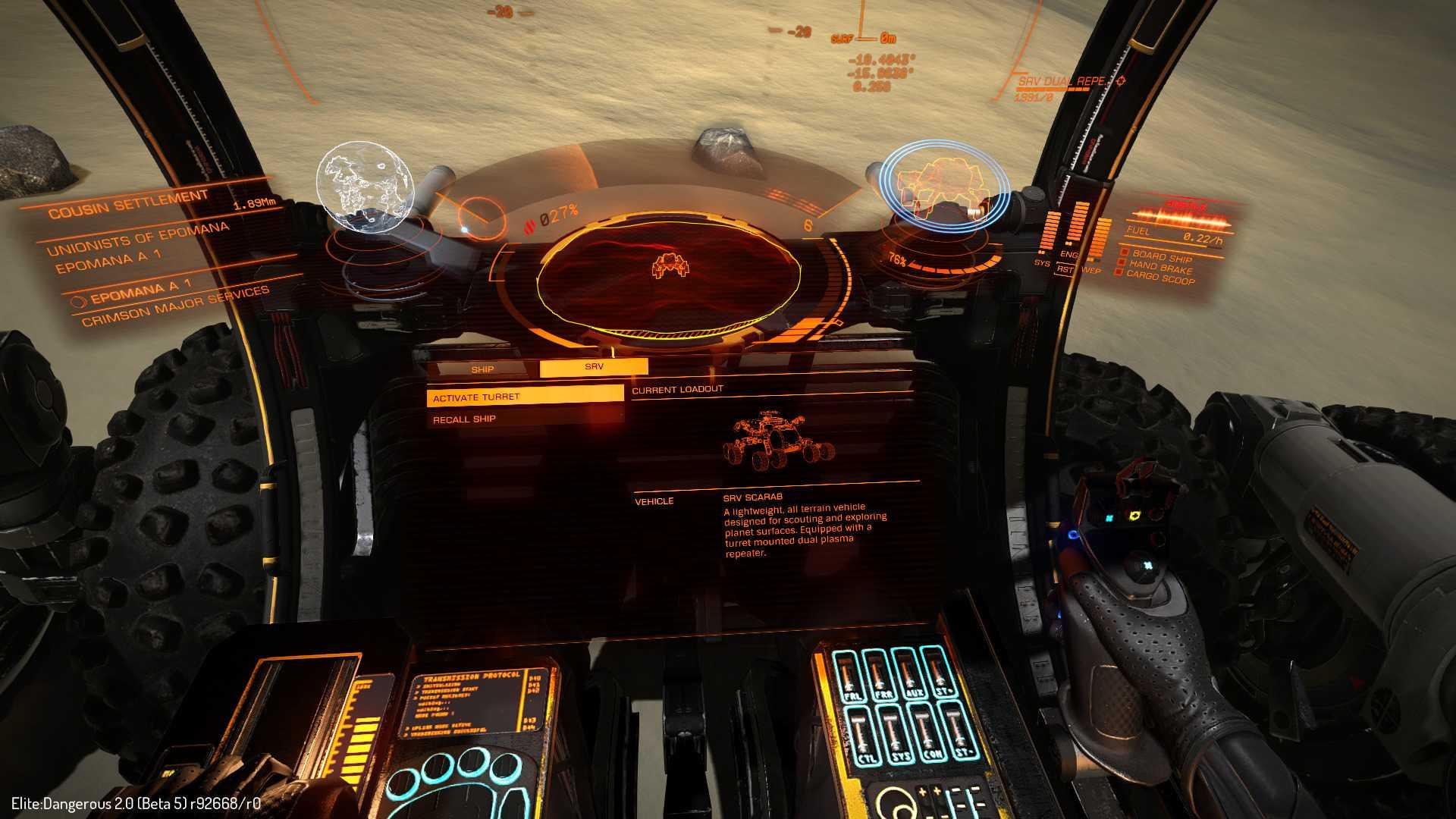 Die Erkundungs-Buggys lassen sich mit Joystick und Schubregler genauso komfortabel steuern, wie die Raumschiffe in Elite.