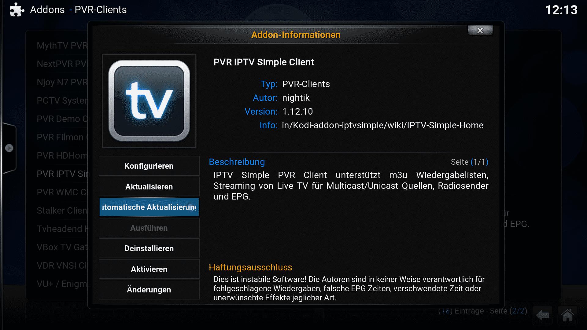 Ab Kodi 16 darf der Anwender selbst entscheiden, welche Add-ons er automatisch aktualisieren lassen will.