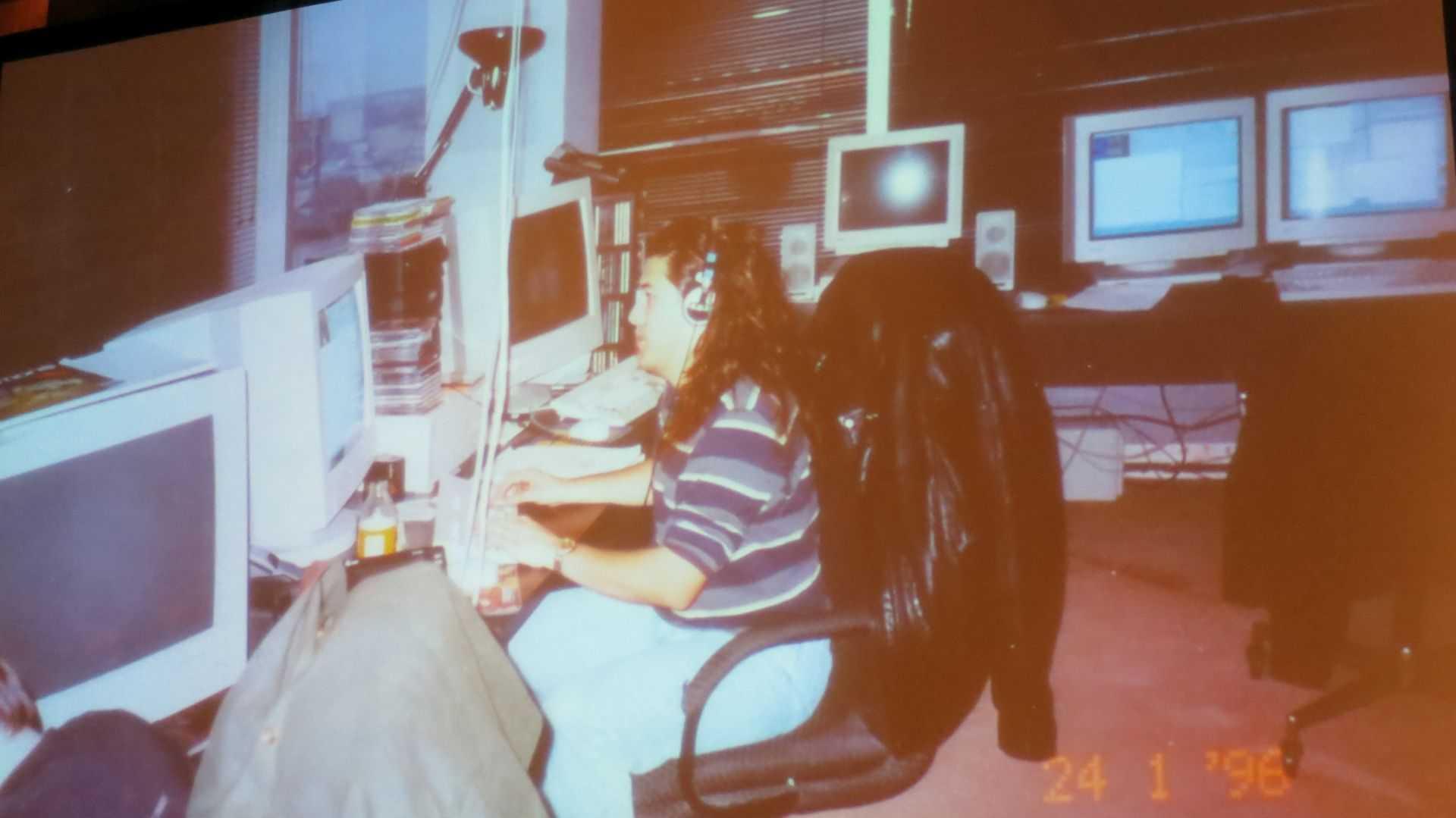 Romero beim Programmieren, 1996.