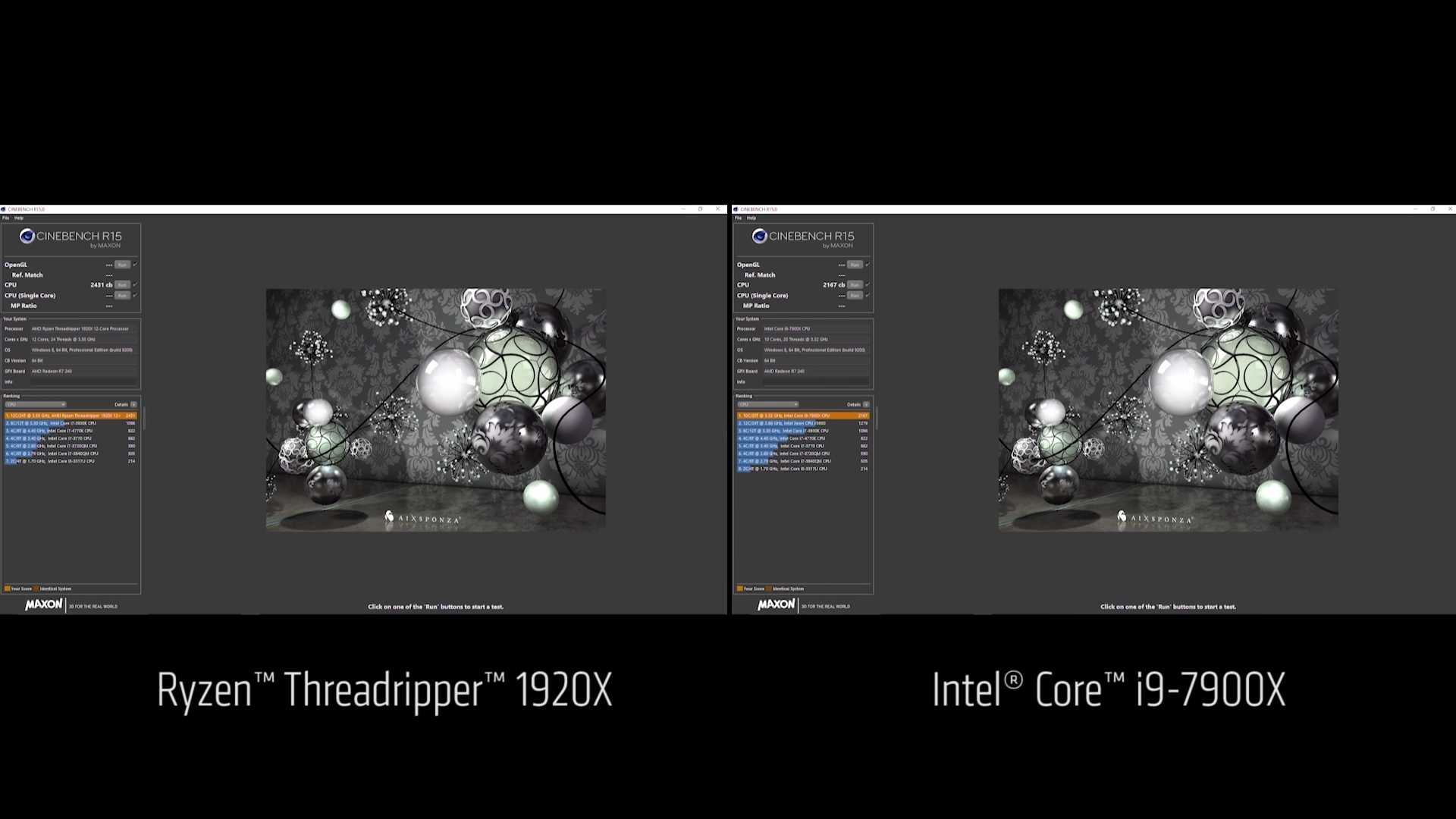 Cinebench R15: Threadripper 1920X vs. Intel Core i9-7900