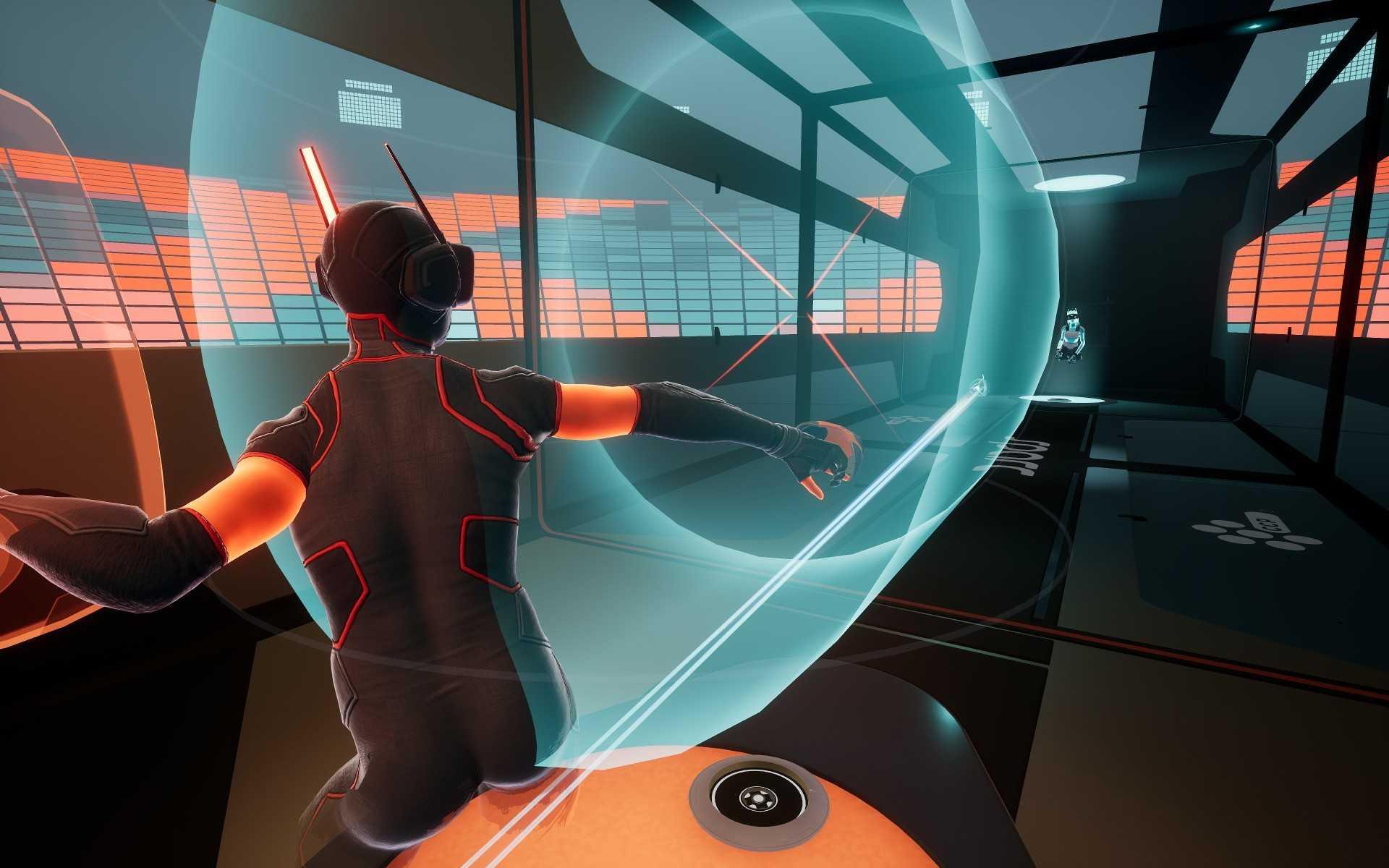 Die beiden Spieler bewerfen sich in der VR-Umgebung mit Energiebällen.