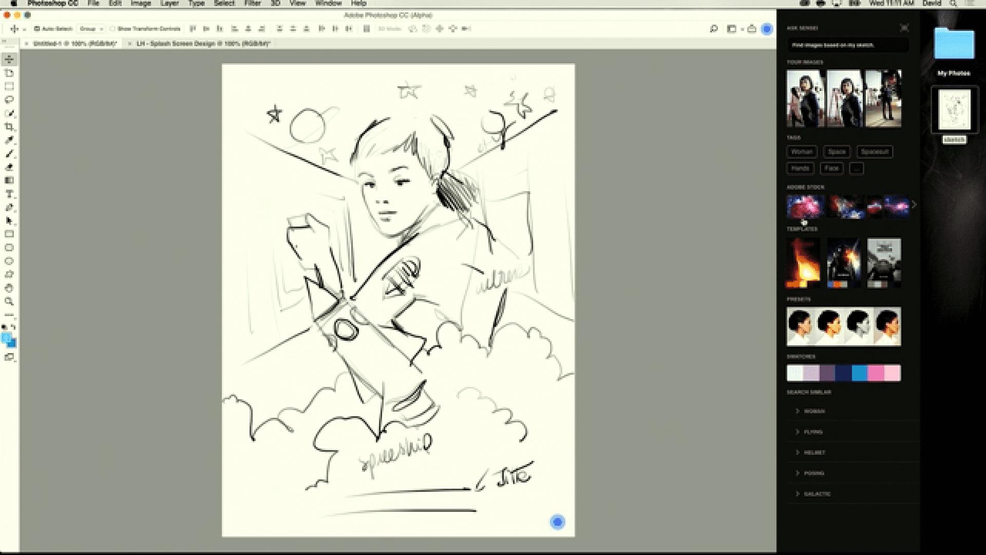 Nach Analyse der Skizze schlägt Sensei verschiedene Fotos vor.
