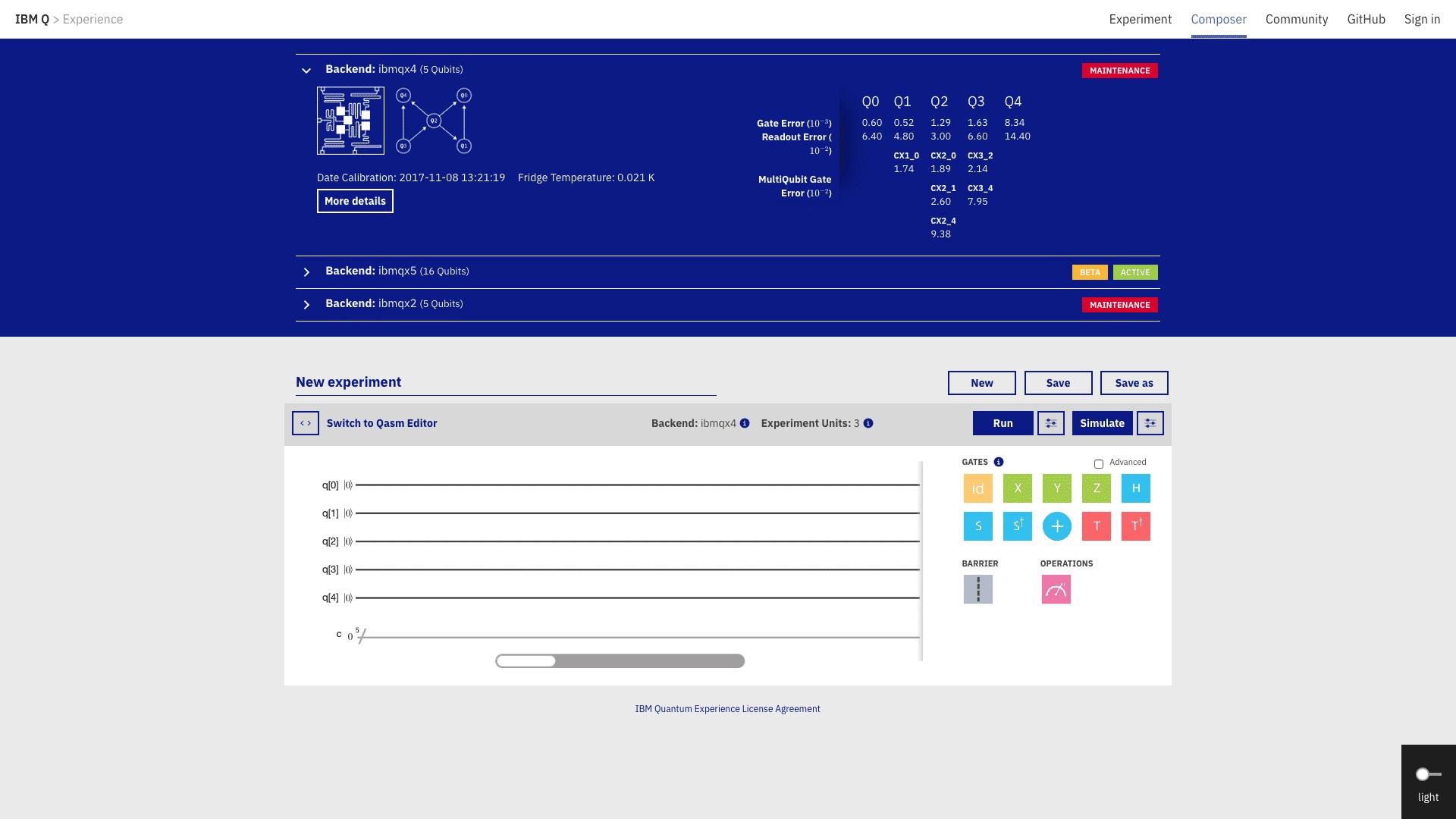 Der Webdienst Quantum Experience Platform (Screenshot)