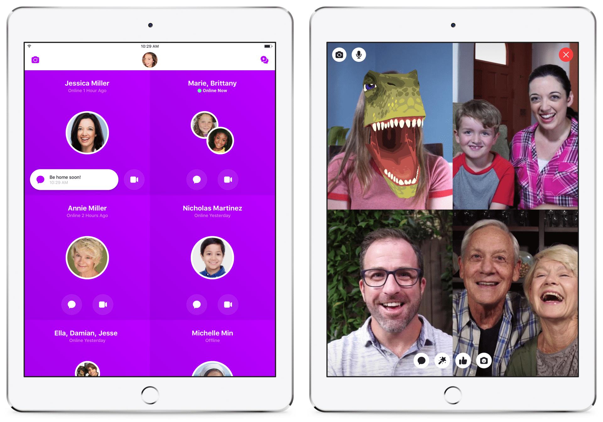 Mit Messenger Kids können Kinder mit Oma und Opa chatten. Damit das mehr Spaß macht, gibt es T-Rex-Masken.