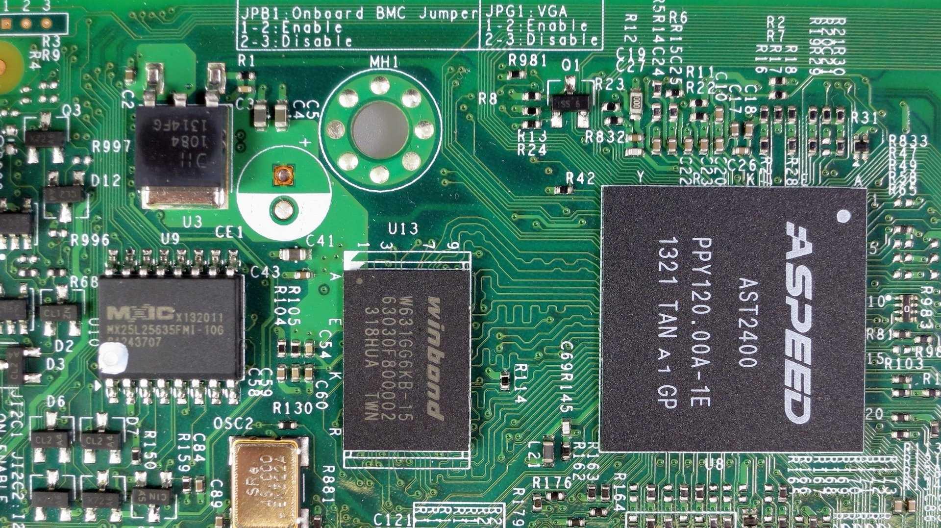 Fernwartungschip (BMC) Aspeed AST2400 auf Supermicro-Mainboard