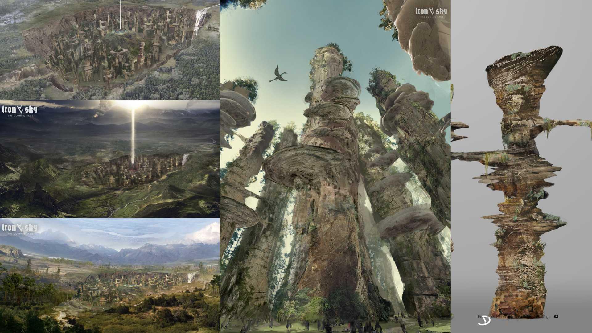 Für die unterirdische Stadt Agartha entstanden riesengroße Türme, die aussehen wie versteinerte Bäume.
