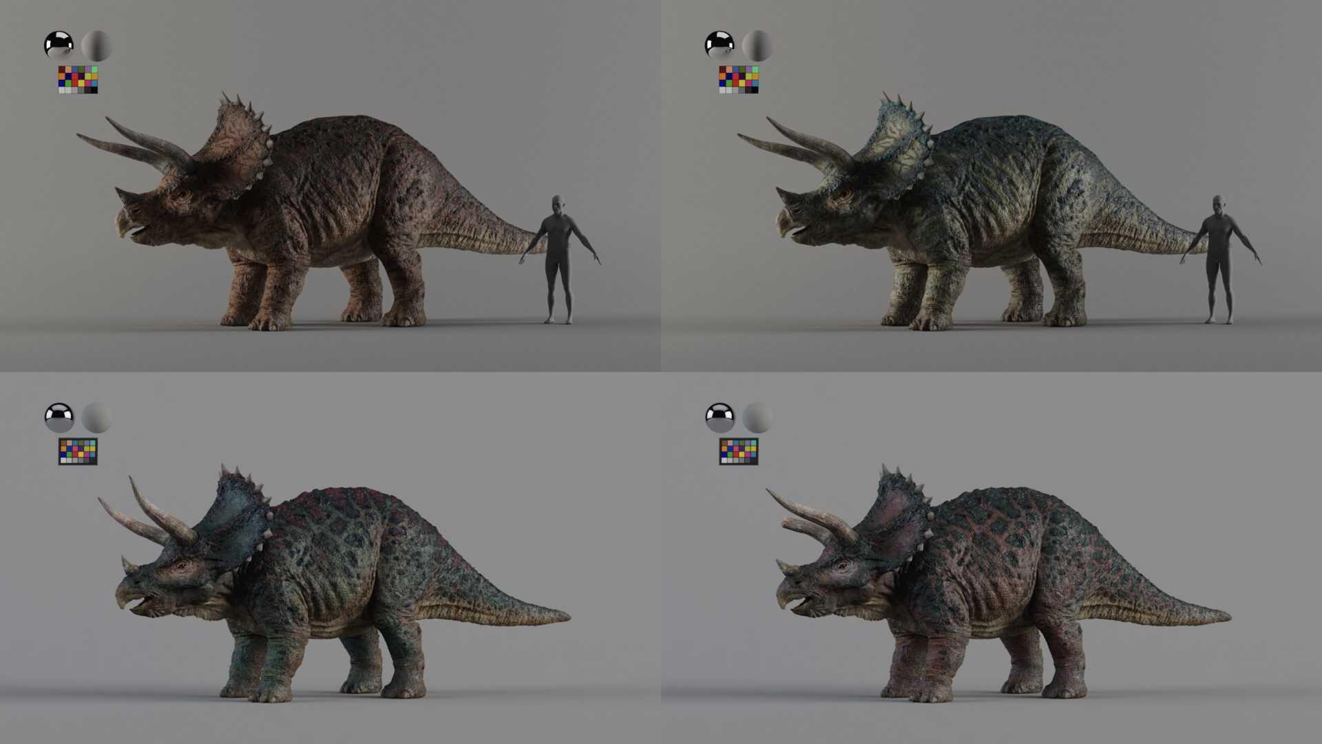 Für das Dinosaurierrennen in Iron Sky 2 entwarf Pixomondo vier Triceratopse mit jeweils unterschiedlichen Charakteren.