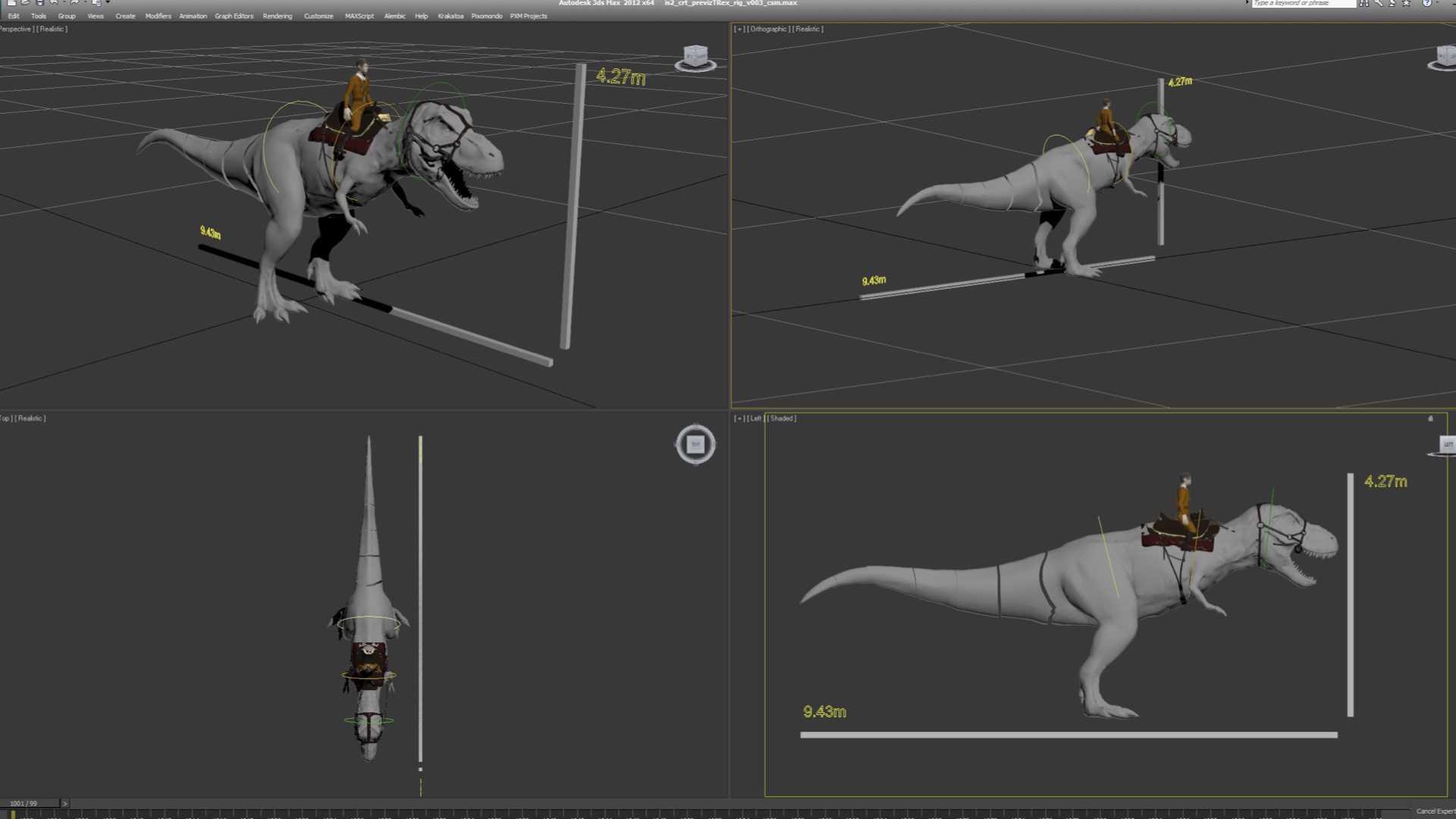 In der Prävisualisierungsphase klärte das Effektteam von Pixomondo die Größenverhältnisse von T. Rex Blondie.