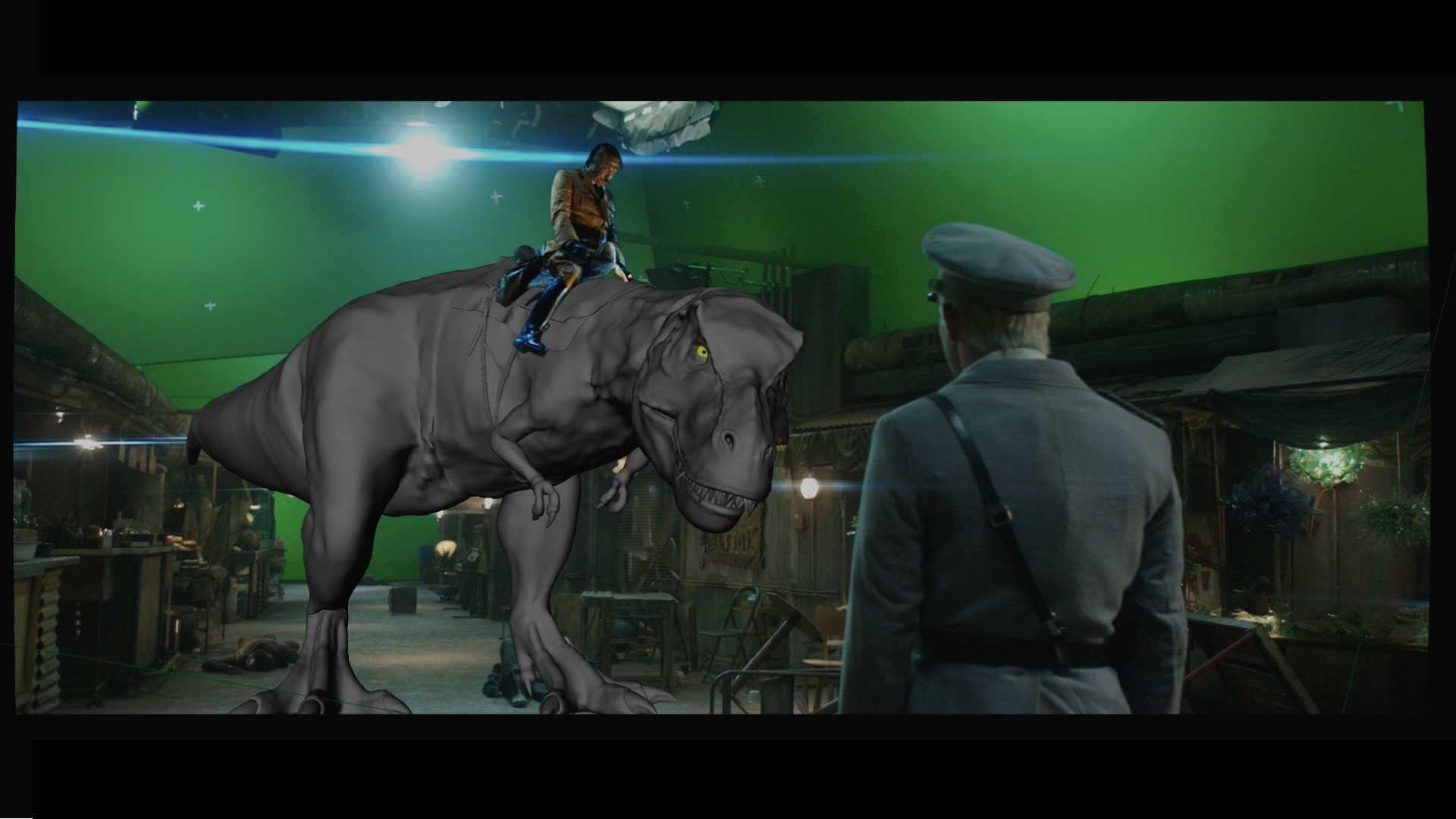Im Studio positionierte das Produktionsteam die Kamera, um den Fünf-Meter-T-Rex digital einbauen zu können.