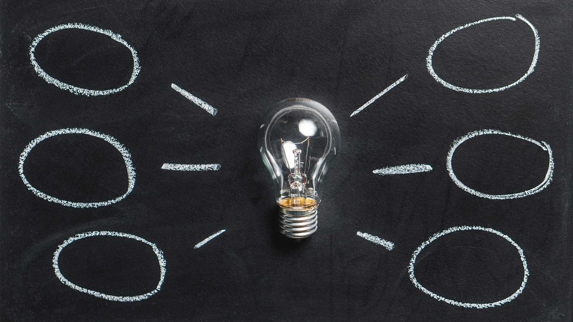 Glühbirne mit sechs Denkblasen