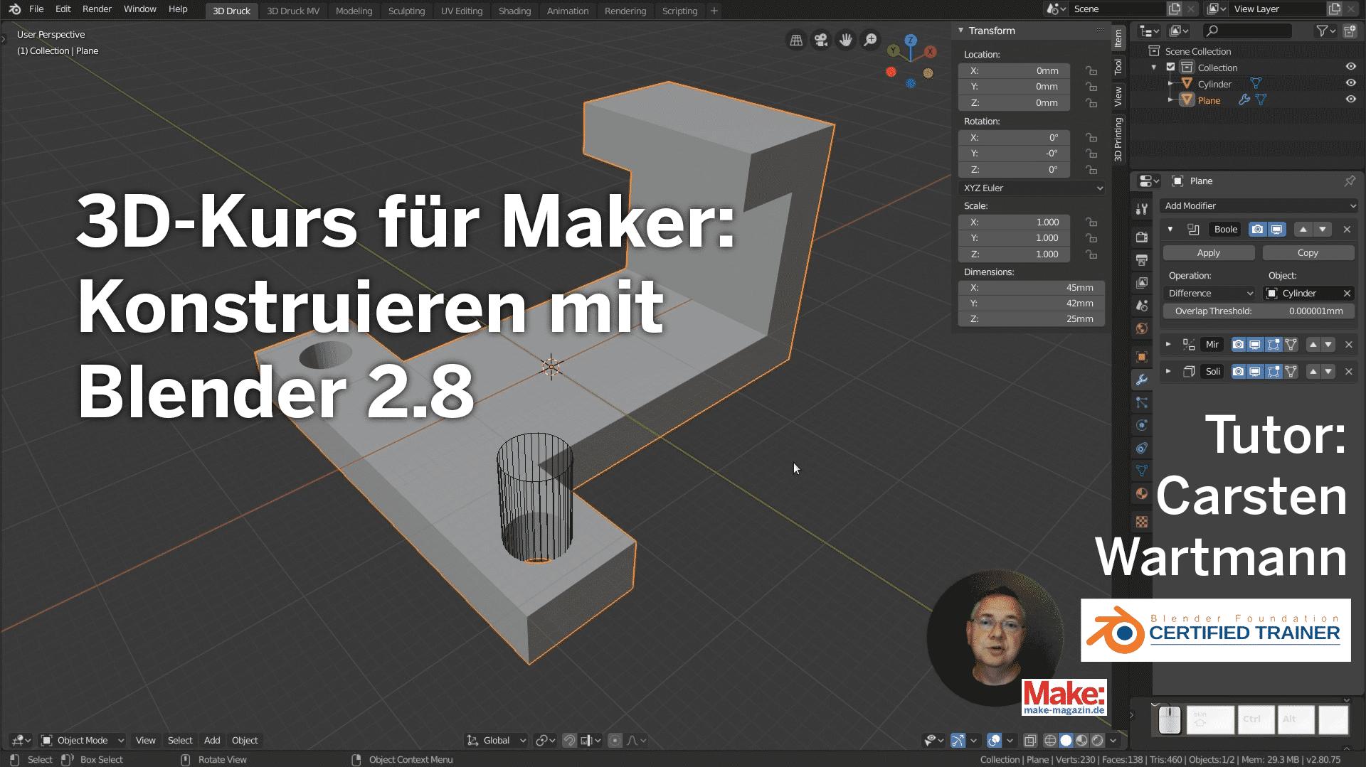 Ende bei Vimeo für den 3D-Kurs für Maker: Konstruieren mit Blender 2.8