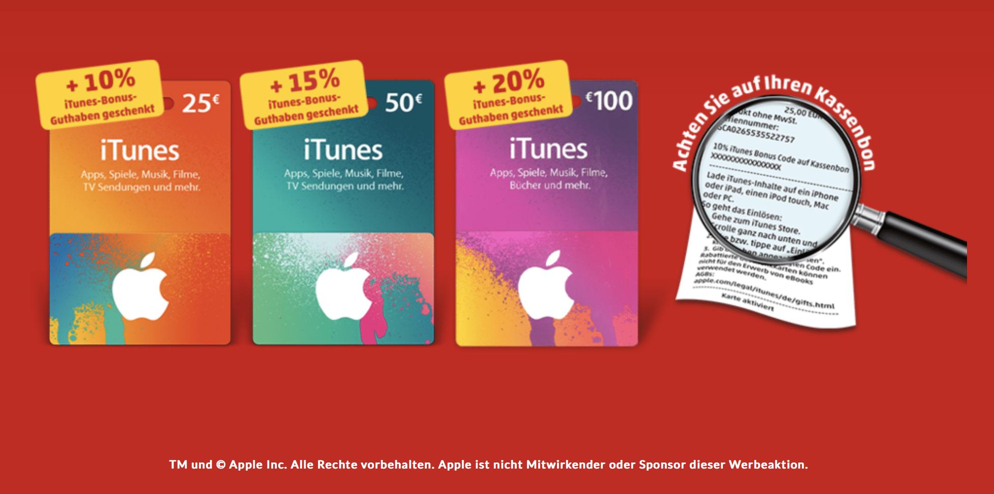 Bonusguthaben auf iTunes-Karten.