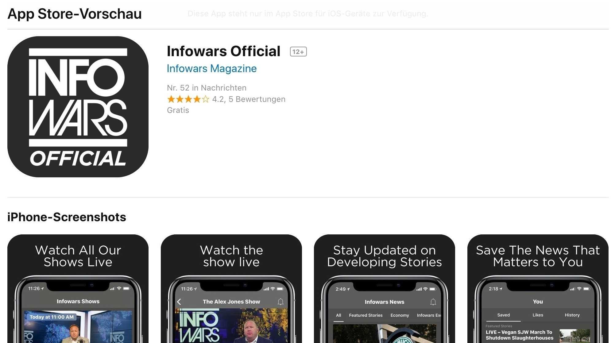 """Apple wirft """"Infowars"""" aus all seinen Angeboten"""