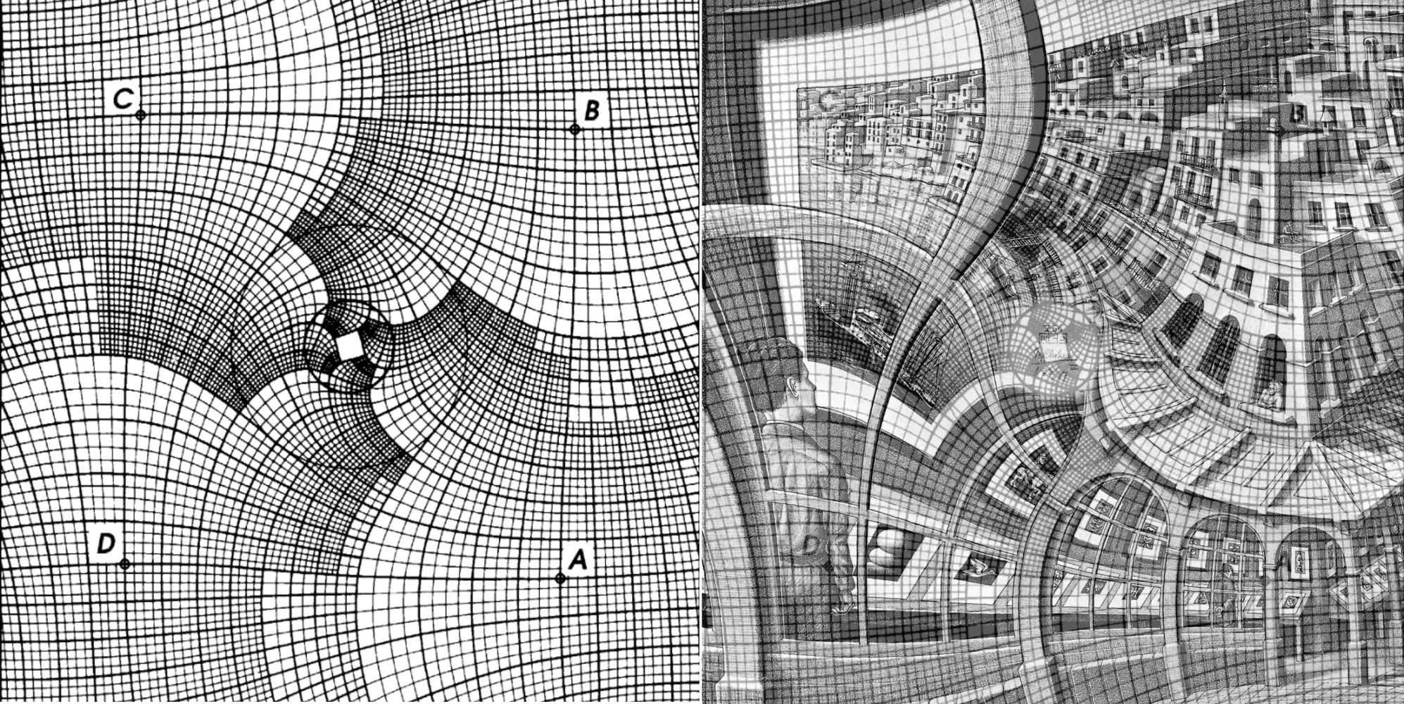 """Escher verwendete für """"Prentententoonstelling"""" eine komplexe Transformation: links das Gitter aus der Veröffentlichung von B. de Smit and H. W. Lenstra Jr., rechts wurde es auf Eschers Lithografie gelegt."""