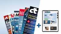 Magazine und Tablet mit heise.de/plus