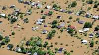 Vom Elbe-Hochwasser überflutete Wohnsiedlung in Sachsen-Anhalt