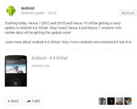 Google Kitkat Android 4.4 Nexus 7 Nexus 10