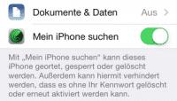 Mein iPhone suchen dient zugleich als Aktivierungssperre in iOS 7