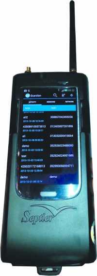 Die Firma Septier bewirbt ihren IMSI-Catcher als jackentaschentaugliches Überwachungstool.