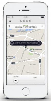"""""""Taxiähnlicher Verkehr mittels Smartphone-App im Bundesland Berlin"""": Ridesharing-Dienst Uber bekommt in der Hauptstadt Probleme."""