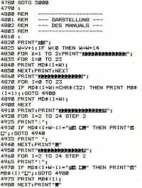 Ein Ausschnitt eines Ausdrucks einer Commodore-C64-BASIC-Programmliste: Man sprang mit GOTO zu Zeilennummern.