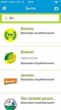 Die App zeigt Informationen zu verschiedenen Produkt-Siegeln