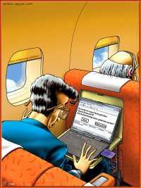 """Flugpassagier mit Laptop. Bluetooth-Anzeige: """"Neues Gerät gefunden: AIrbus 310. Auto-Konfiguration: 'Start' oder 'Abbrechen'?"""""""