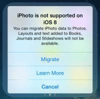 iPhoto läuft unter der aktuellen Beta von iOS 8 schon gar nicht mehr.