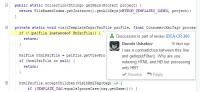 Teammitglieder können zu disktutierende Codepassagen mit Kommentaren versehen.