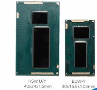 CVore -M, rechts im SFF-Modul zusammen mit dem neuen Peripheriebaustein (PCH) im Vergleich im Vergleich zum Vorgänger Haswell U/Y