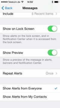 iMessage erlaubt, Benachrichtigungen auf Kontakte zu beschränken