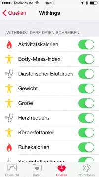 Die App von Withings kann eine lange Reihe an Fitness- und Gesundheitswerten zu Health beisteuern