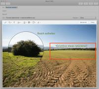 Mit Mails Markierungen-Funktion kann man direkt im Programm Bilder mit Anmerkungen versehen.