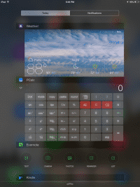 PCalc in der Benachrichtigungszentrale auf dem iPad: Praktische Funktion.