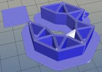 Raft: Das Bauteil wird auf einer Platte gefertigt, die fest mit dem Bauteil verbunden ist.