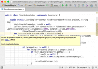 Der Editor erkennt Code-Duplikate beim Tippen
