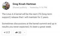 Die Ankündigung von Kroah-Hartman.