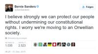 Senator Bernie Sanders warnt vor den Gefahren von zu viel Überwachung.