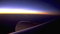 Fliegender Airbus, Sonnenuntergang über der Tragfläche