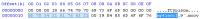 Tpyische Ansicht eines Hex-Editors: Links sind die hexdezimalen Zahlen als Oktette dargestellt, rechts die ASCII-Übersetzung. Die markierten Bytes stehen zeigen das Videoformat MPEG-4 AVC (H.264) an.