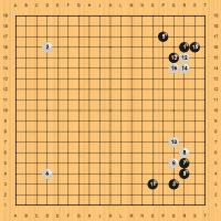 Lee Sedol (Schwarz) sichert sich zunächst Gebiet auf der rechten Seite.